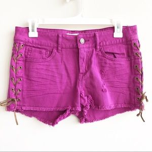 F21 Purple Denim Shorts With Leather Lace-Up